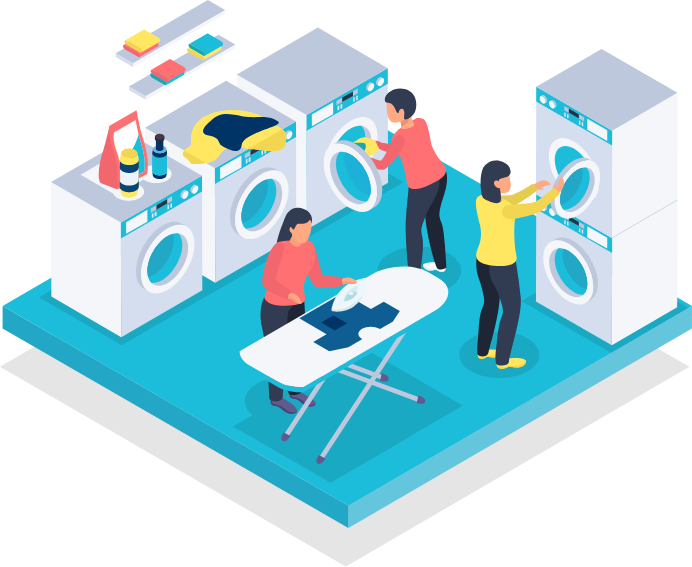 Illustration of a laundry room